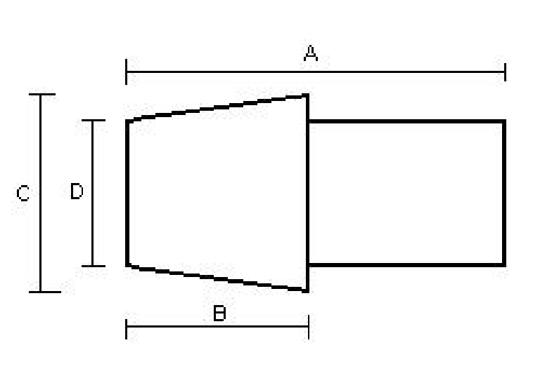 HOCH - measurement drawing for hose connector